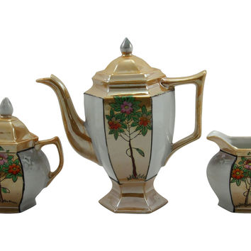 Japanese Lusterware Tea Set, 3 Pcs