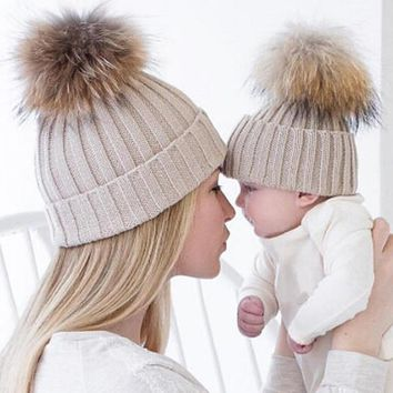 Autumn Winter Fashion Children Fur Hats Big Fur Ball pompom Beanies Cap Knitted Fur Hat For Baby Kids & Mothers Women Girls Hat