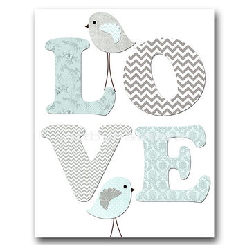 Birds Nursery Baby Boy Nursery Art Nursery Wall Art Baby Nursery Kids Room Decor Kids Art Boy Print Birds Love Nursery blue gray Baby