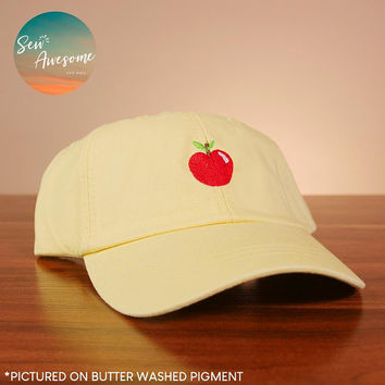 Apple Dad Hat, Foodie Baseball Cap, Food Lover Teacher Gifts, Best Friend Gift, Gift for Teacher, Embroidered Hat