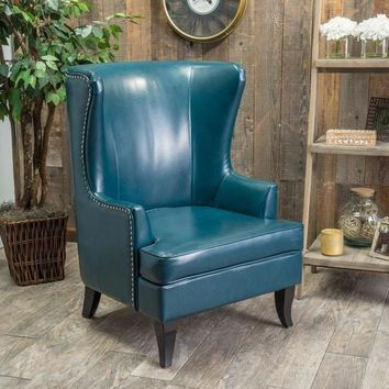 Canterburry High Back Bonded Leather Wing Chair