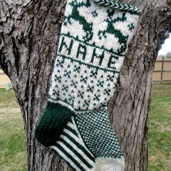 Reindeer Stocking - hand knit, custom name included, made to order