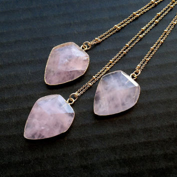 Rose Quartz Necklace Faceted Rose Quartz Diamond Shape Necklace Geometric Rose Quartz Jewelry Layering Necklace Jewelry Gemstone Necklace