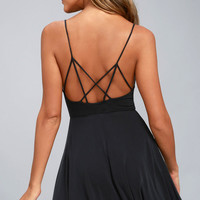 Shore Thing Washed Black Skater Dress