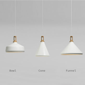 Scandinavian Designer Ceiling Hanging Lamp Wood And White