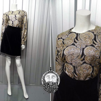 Vintage 60s Black and Gold Brocade Shirt Womens Blouse Metallic Top Long Sleeve Lurex Blouse Paisley Print Lame Top Tunic Top Metallic Shirt
