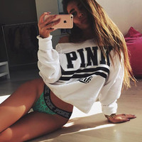 Sexy Print Long Sleeve Short Top Blouse Sweater