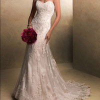custom Custom Charming lace wedding dress, the new white/ivory sleeveless wedding dresses, cheap wedding dress, custom size and color