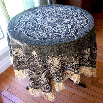 """Large Italian Tablecloth,48"""" Square Table Cover,Boho Decor,Brocade Table Cloth,Tapestry Piano Shawl,Throw,Fringed Table Cloth,Vintage Linens"""