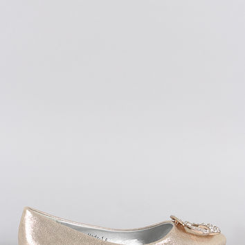 Princess Metallic Embellished Pointy Toe Flat