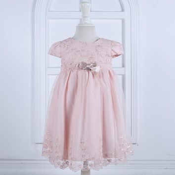 Nimble Cute Mid-Calf Ball Gown Embroidery Pearls Baby Girls Dress Pink Orange Christmas Birthday Party Cloth 1-4Y vestidos