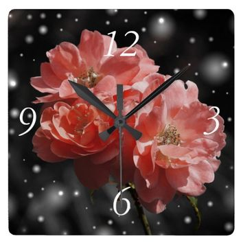 pretty blooming flowers square wall clock