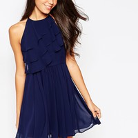 BCBG Generation Ruffle Mini Dress in Deep Blue
