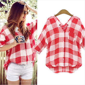 Stylish Classics Plaid Plus Size Shirt [4966116548]