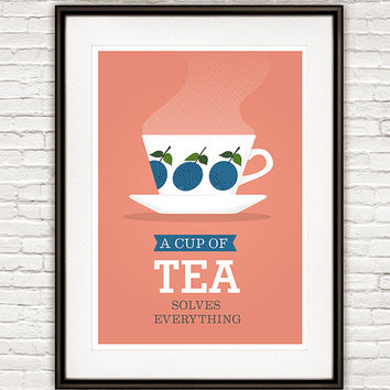 Kitchen poster Tea print Tea quote Art for Kitchen Pink kitchen art Retro kitchen  Stig Lindberg Kitchen decor Kitchen print Tea qutoe