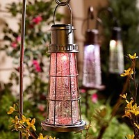 Solar Powered Crackled Glass Lighthouse with Shepherds Hook — QVC.com