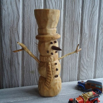 hand carved wood snowman rustic wood snowman hand made snowm