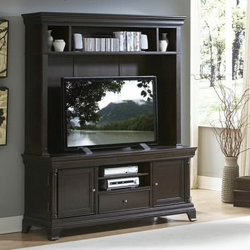 2 pc Inglewood collection deep cherry finish wood TV entertainment center TV stand with top unit