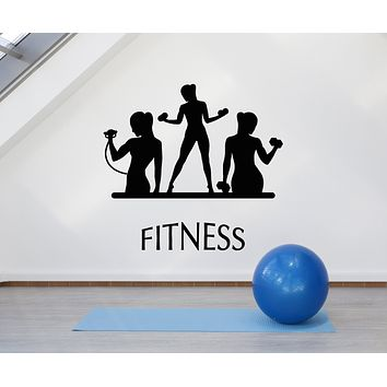 Vinyl Wall Decal Fitness Club Iron Woman Gym Dumbbell Sport Decor Stickers Mural (g757)