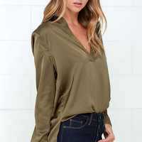 Boulevard Beaut Olive Green Satin Long Sleeve Top