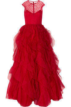 Valentino|Lace and ruffled silk-organza gown|NET-A-PORTER.COM