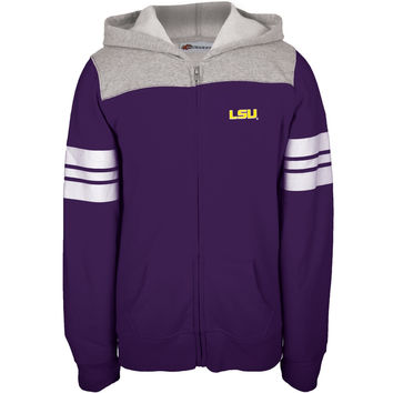 LSU Tigers - Game Day Sports Stripes Girls Youth Zip Hoodie