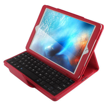 """iPad Pro 9.7 Keyboard Case Peyou Detachable Wireless Bluetooth Smart ABS Keyboard with Magnetic Muti-angle Folio PU Leather Case Cover for Apple iPad 9.7 (2017 Release)/ iPad Air 1 2 / iPad Pro 9.7"""" Black keyboard + Red case cover"""