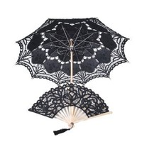 Topwedding Lace Parasol and Folding Fan Set in Black