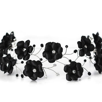 Silver headband, Black flowers crown, Rhinestones hair accessories, Hair piece floral, Womens headband, Flower crown, Headband flowers Tiara