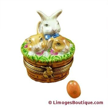 Easter Bunny in Basket w Eggs