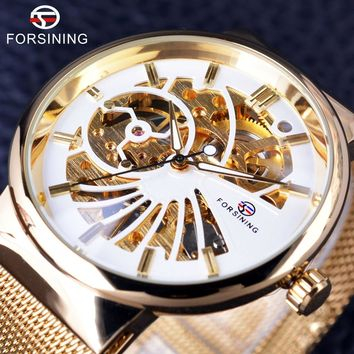 Forsining GMT985 Luxury Golden Skeleton Neutral Design Mens Luxury Stainless Steel Waterproof Watch