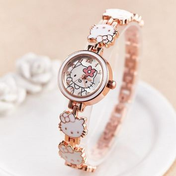 Women Watch Cartoon Bracelet red Hello kitty Wristwatch Watches Fashion Kids Clock Children Watches relojes saat montre femme
