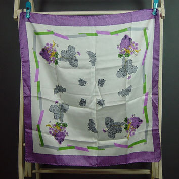 50s Silk Scarf Vitnage 1950s Novelty Poodle Scottie Dog Purple Violet Gray Green Floral Valentines Day Gift