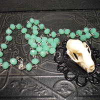 Real Sphinx Fruit Bat Skull on Mint Rosary Beads by TheCuriositeer