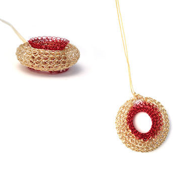 Red Dot Pendant Necklace , Gold and Red Pendant , Wire Crochet Jewelry