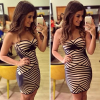 2014 New Fashion Strapless Bandage Dress Striped Print Backless Sleeveless Dress Party Cocktail Club Sexy Women Mini Dress