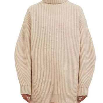 Beige High Neck Long Sleeve Chunky Knit Sweater