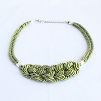 Shiny dark lime green knotted nautical rope adjustable statement necklace