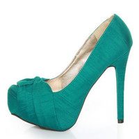 Qupid Marquise 10 Teal Thai Silk Knotty Bow Platform Pumps - $35.00