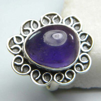 Amethyst gem stone ring, stone ring , silver ring, handmade sterling silver ring, Amethyst  ring, ring-0314140090
