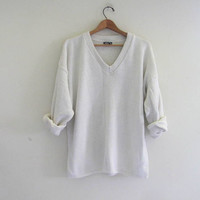 90s white vneck sweater. oversized prep sweater. size L