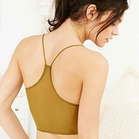 Silence + Noise Mesh Racerback Bralette in Olive - Urban Outfitters