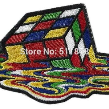 "4.1"" RUBIKS CUBE MELTING Patches for Clothing Movie TV Series Cosplay Costume Embroidered Emblem iron on patch badge applique"
