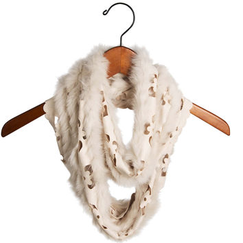 Cream - Micro Suede and Fur Infinity Scarf