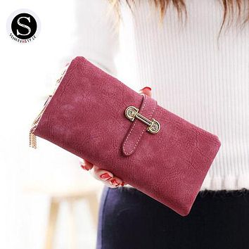 Senkey Style Womens Wallets And Purses Famous 2017 Fashion Money Clip Wallet Women Luxury Brand Matte Stitching Long Clutch