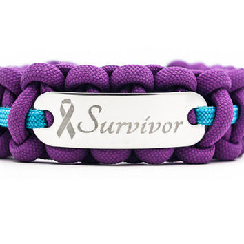 Custom Survivor Paracord Bracelet with Engraved Stainless Steel ID Tag - Customize Cord Colors and Text for any Cause