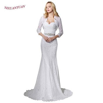 2017 Hot Sale Bridal Wedding Gown Real Photo White Lace Mermaid Wedding Dress 2017 With Wedding Jacket Cheap vestido de noiva