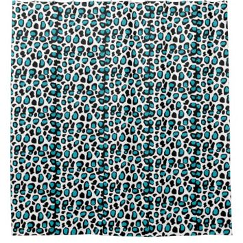 Turquoise Teal Blue Leopard Animal Print Shower Curtain