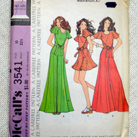 Vintage 1970s sewing pattern McCall's 3541 wrapround palazzo pants Glam tie Waist Hippie romper American Hustle bell bottom Mini Maxi
