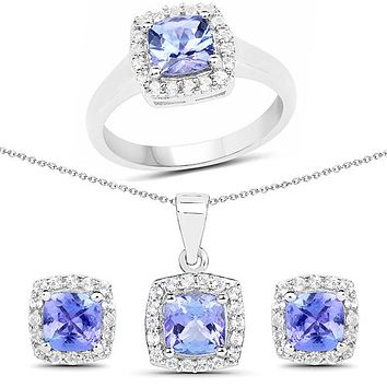 Ethically Mined Tanzanite Ring Earrings Necklace Gift Set